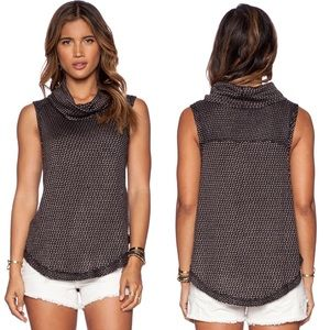 Free People Timber Cowl Neck Tank in Black Combo